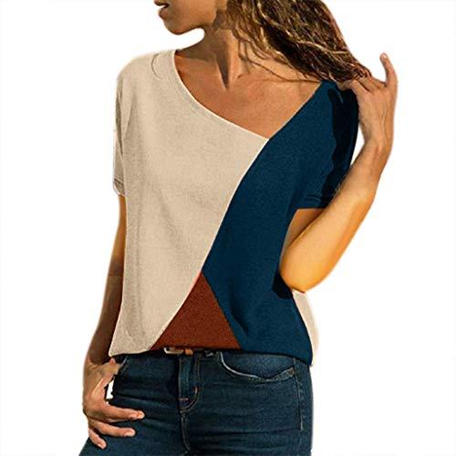 CixNy Damen Diverse T Shirts, Kurzarm Bluse Camisole Trägershirts Sommer Crop Vest Weste Oberteil Color O-neck Casual Short sleeved Patchwork Striped Tops S-5XL
