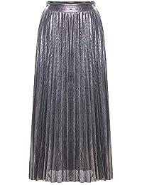 88af68743 MyMei Women's High Waist Metallic Shiny Shimmer Skirt Pleated A-Line Swing  Maxi Long Skirt