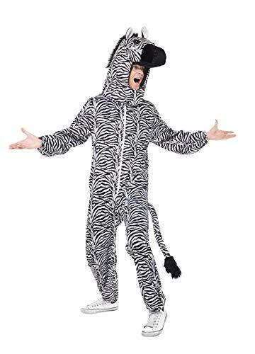 Smiffys Herren Zebra Kostüm, Bodysuit mit Kopfteil, One Size, 43816 (Einfache Zebra Kostüm)