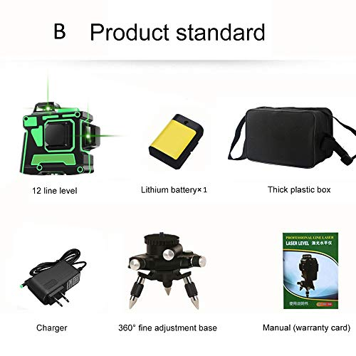 12 Lines 3D Green Laser Levels Self Leveling 360 Horizontal and Vertical Cross Super Powerful Green Laser Beam Line -