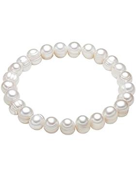Valero Pearls Classic Collection Damen-Armband elastisch Hochwertige Süßwasser-Zuchtperlen in ca.  8 mm Barock...