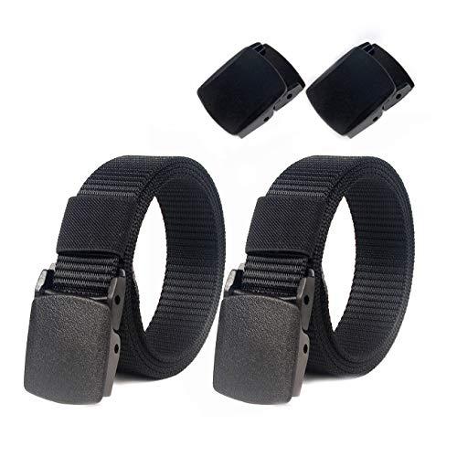 Lalafancy Paquete de 2 hombres Cinturón 1.5'Nylon Cinturón de malla militar sin hebilla de metal (Negro + Negro)