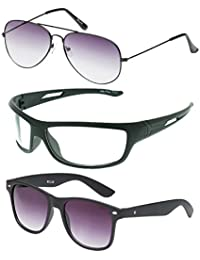 Vast Combo Of 3 Fashion All Day And Night Vision Biking , Driving And Sports Unisex Sunglasses (COMBO_3025_AVIATOR_BLK_PURP_B2231...