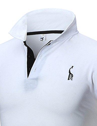 Boom Fashion Herren Poloshirt Beiläufig Kurzarm Stehkragen Weiß
