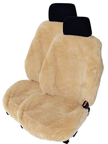Leibersperger Felle 1Paar Autoschonbezüge Luxus Autofelle komplett aus echtem Lammfell Premium (Sekt) für Fahrersitz und Beifahrersitz mit hoher Sitzlehne bis 65cm (Direkt vom Hersteller)