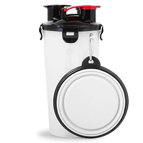 WBTD-Dog Bowl 2-in-1Tragbar Wasser Körnerbecher mit Klappschale Trinkbrunnen Hund im Freien Wasserkocher Getreidekübel Absturzsicher und langlebig (White)