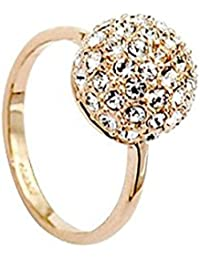 18K Rose Gold Plated, Pave Set, Clear Round Cut Crystal Elements, Ball Fashion Band Ring