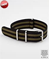 MKS NYLON OLIVE BOND WATCH STRAP, MATTE BRUSHED STAINLESS STEEL (20mm)
