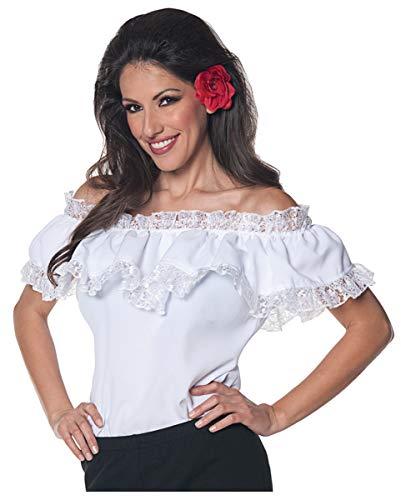 Horror-Shop Spanierin Carmen-Bluse schulterfrei für Rosenmontag & die Halloween-Nacht S (Zigeunerin Tänzerin Kostüm)