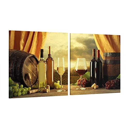 Bilderwelten Leinwandbild 2-teilig - Wein mit Ausblick - Quadrate 1:1, Größe HxB: 2X 80x80cm