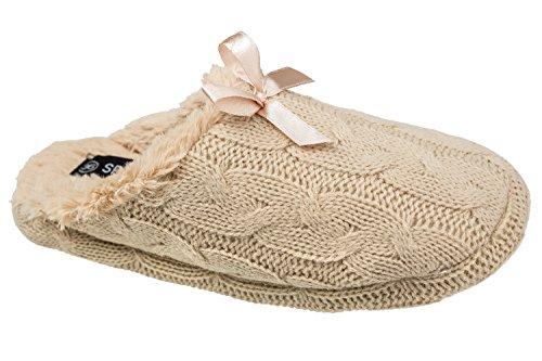 Pantofole Da Donna Gibra® Con Suola Bianca, Foderate, Beige, Taglia 36-41 Beige
