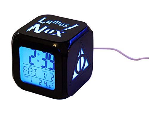QIANXIAN Harry Potter Alarm Clock Retroiluminación Azul Colorido Alarm Clock The Deathly Hallows LED de luz Nocturna Relojes niños,B