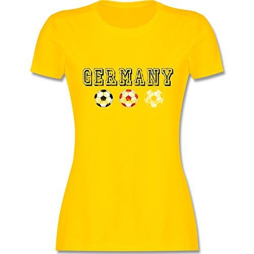 EM 2016 - Frankreich - Germany mit Fußbälle Vintage - tailliertes Premium T-Shirt mit Rundhalsausschnitt für Damen Gelb