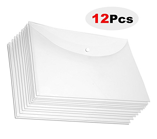 A4 Document File Bag, Transparent Envelope Holder Storage Case, Snap Button Organizer,...