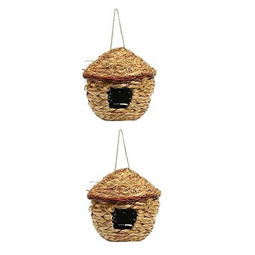 PanDaDa 2PCS Nid d'oiseaux en Paille Cage Suspendu Tissée à La Main Bird Nest pour Perroquet Canari Cockatiel - Diamètre: 22CM