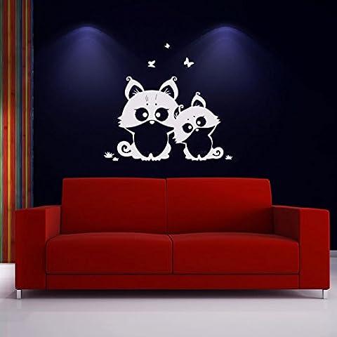 Gatitos lindos Etiqueta de la pared Tatuajes de pared Animal Arte disponible en 5 tamaños y 25 colores Pequeño Blanco