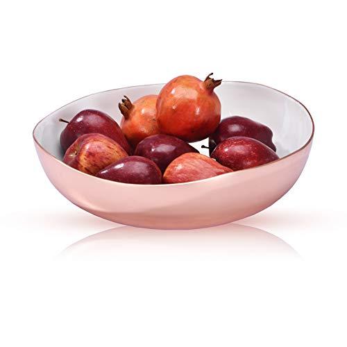 Jasper - Designer Fruit Bowl with Blossom Pattern for Fruits, Home Gift, Party Serving & for Kitchen (Rose Gold 12 inch)