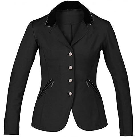 Stivali donna Piaffe colletto in velluto strass comfort equitazione concorrenza Giacca, Black, 9-10 (Mens Black Velvet Blazer)
