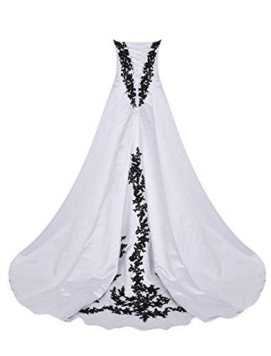 Find Dress Charmant Robe de Cocktail Longue pour Mariage Bustier Robe de Mariée Femme Princesse Fête Noel Soirée Grande Taille Gown Plissé Wedding Dress en Satin avec Broderie Noir