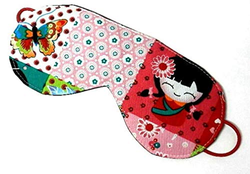 Schlafbrille aus Stoff - KAWAII GEISHA - mit Gummiband - waschbar - Schlafmaske/Schlaf-Brille/Schlaf-Maske - aus Baumwollstoff/Baumwolle - Geschenk Geburtstag Konfirmation & Firmung