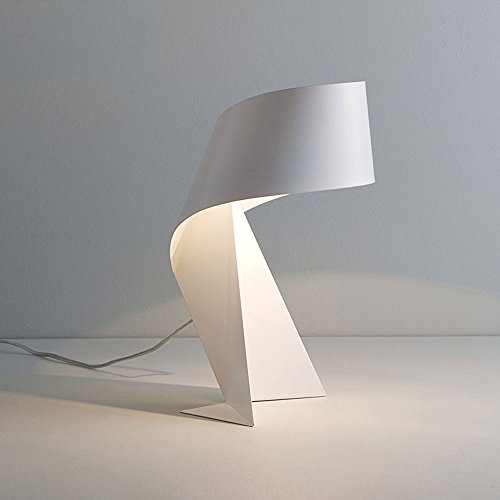 Moderne minimalistische kreative schwarz und weiß Schmiedeeisen Schreibtischlampe Schlafzimmer Bedside Studie arbeiten Origami Tischleuchte Kunst Styling Tischlampe ( Farbe : Weiß )