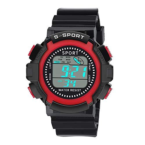 uhren for herren Kinderuhren für Jungen Outdoor Wasserdicht Digital Uhren Sportuhr mit Wecker Stoppuhr Kinder Digitaluhren Armbanduhren(Red)