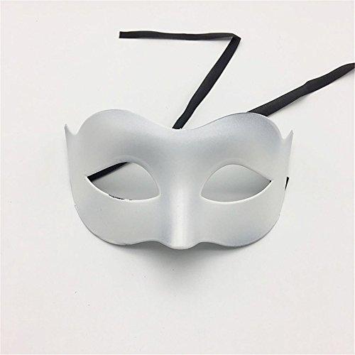 Maskerade,Glamour Men Maske Halloween Make-up Abschlussball Maske Damen Volltonfarbe Minimalistisch Half Face Zorro Maske Maske Weiß Masquerade