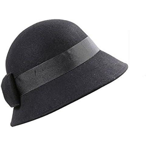 WE&ZHE Lana Mujer sombrero de fieltro Inglaterra Estilo elegante retro de unión de la mariposa Decorar mantener el calor en otoño e invierno ,