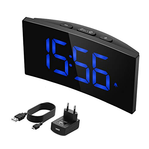 PICTEK Réveil Numérique, Réveil Digitale 13cm LED Ecran Incurvé, Opération Simple 3 Sons d'Alarme, Fonction Snooze, 5 Luminosité Variable et 2 Volume Ajustable, Bleu