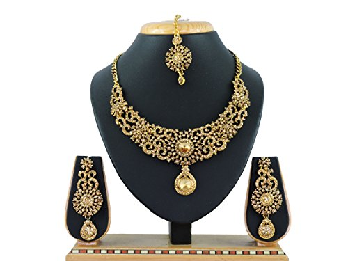 Vatsalya Creation Traditional Diamond Necklace Set Gold Plated For Women\'s