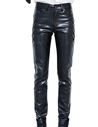 Idopy Herren Slim Fit Soft PU Faux Leder Biker Hose Trachtenlederhose Trachtenlederhose Lederhosen (Leder Herren Biker)