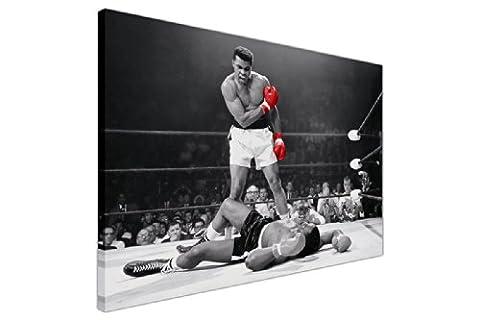 Toile décoratif Motif photographie de Muhammad Ali avec gants rouges (taille grand format horizontal, blanc et noir) 1- A3 - 12