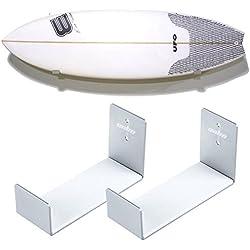 UNHO 2 x Support Surf Mural Stockage de Planche de Surf en Aluminium Support Présentoir de Planche Support de Montage Wall Mount Bracket Display Rack Surfboard Storage Holder - Argent