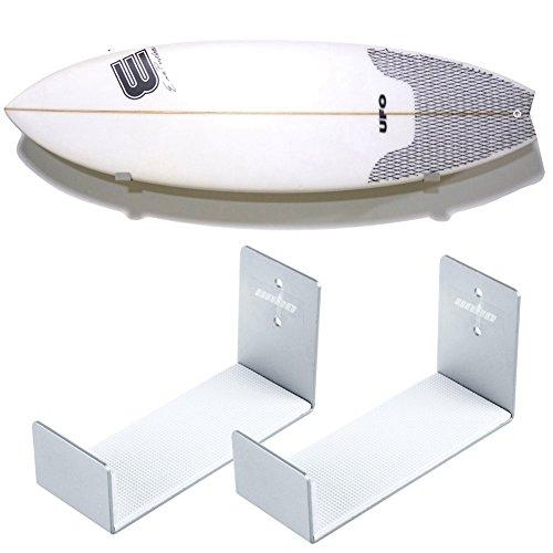 unho 2 Stück Surfboard Wandhalterung Surfbrett Halterung Speicherung aus Aluminium Wand Unterstützung Montage Display Rack Surfboard, Silber