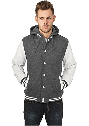 Urban Classics Herren Jacke Hooded Oldschool College Jacket grey/white