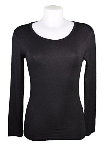 Miss Rouge: T-Shirt, Damenunterziehpulli mit langen Ärmeln, Viskose Schwarz