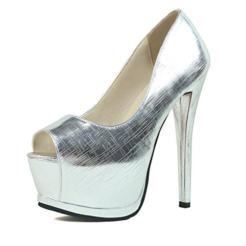 YMXJB Les sexy metal Europe talons night club chaussures femme Silver