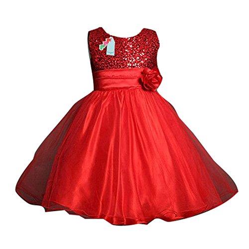 Sommer-Baby-Mädchen-Blumen-Sleeveless Prinzessin-Festzug-Kleid für Geburtstags-Hochzeits-Partei-Rot / 140cm / (Ages Uk Of Rock Kostüme)