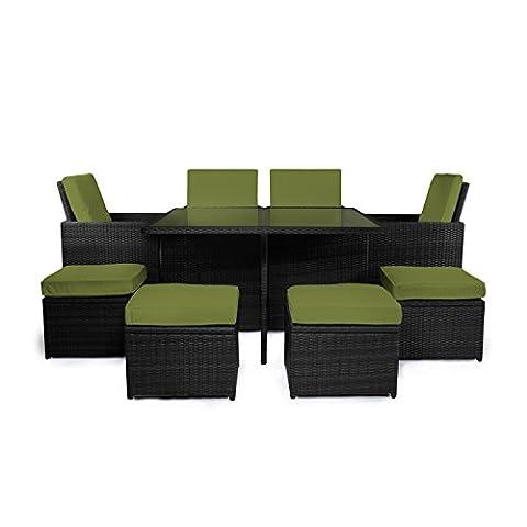 """Vanage Gartenmöbel-Set """"Sydney"""" in schwarz / grün, Rattanoptik - Polyrattan-Lounge-Möbel für Garten, Balkon & Terrasse - 4 Polyrattanstühle, 4 Polyrattanhocker & Esstisch - Outdoor-Möbel inkl. Auflage"""