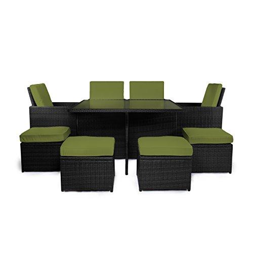 Set Sydney für Garten, Balkon und Terrasse, schwarz/grün (Schwarz-ess-stühle)