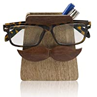 Handmade Wooden Reading Glasses Spectacle Case & Pen Pencil Display Stand Holder Tabletop Desk Accessories Office Stationary Organizer For Home Office College Unique Birthday Housewarming Gifts