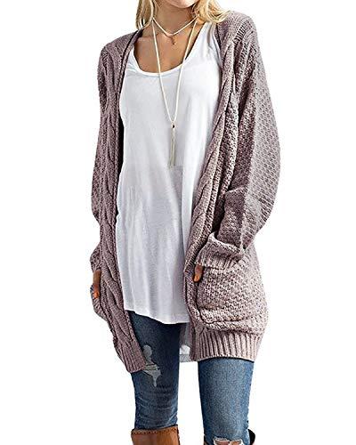 CNFIO Pullover Damen Strickjacke Lässig Casual Cardigan Langarm Outwear mit Taschen Mantel Jacke Winter rosa 2 3XL -