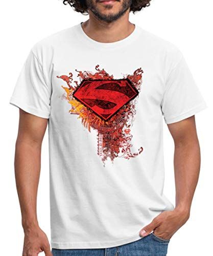 Spreadshirt DC Comics Superman Logo Strength Männer T-Shirt, L, Weiß -