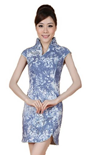 Bigood Rétro Style Robe Femme Cheongsam Soirée Manche Courte Imprimé Bleu