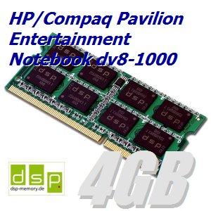 4GB Speicher / RAM für HP/Compaq Pavilion Entertainment Notebook dv8-1000 -