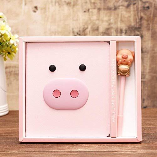 ABYED Caja de regalo de agenda Kawaii de Cerdo más un bolígrafo de tinta Gel, Regalo de cumpleaños para chicas