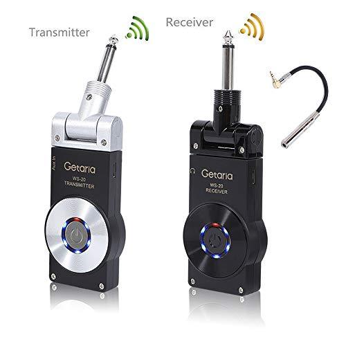 Getaria Sistema di Chitarra Wireless Trasmettitore e Ricevitore 2.4GHZ con Audio Digitale Batteria Ricaricabile Incorporata per Chitarra Elettrica con Cavo Audio Stereo(10inch)