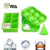 Eiswürfelform, AQV Eiskugelform BPA-freie,Eiswürfelbehälter mit 2-Inch Quadrat Eiswürfel,1,7-Zoll Eiswürfelbereiter für Jelly Cocktails Whisky, 3er Packung