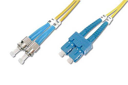 DIGITUS LWL Patch-Kabel OS2 - 1 m ST auf SC Glasfaser-Kabel - LSZH - Duplex Singlemode 09/125µ - 10 GBit/s - Gelb