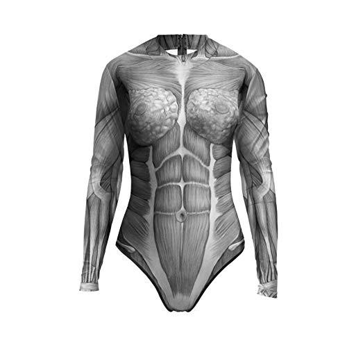 Hexe Kostüm Garten - JIANGJIE Halloween Kostüme Street Trusses Anatomie Blood-Splatter Print Damen Badeanzug,D,M